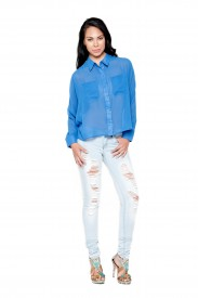 blue spike blouse